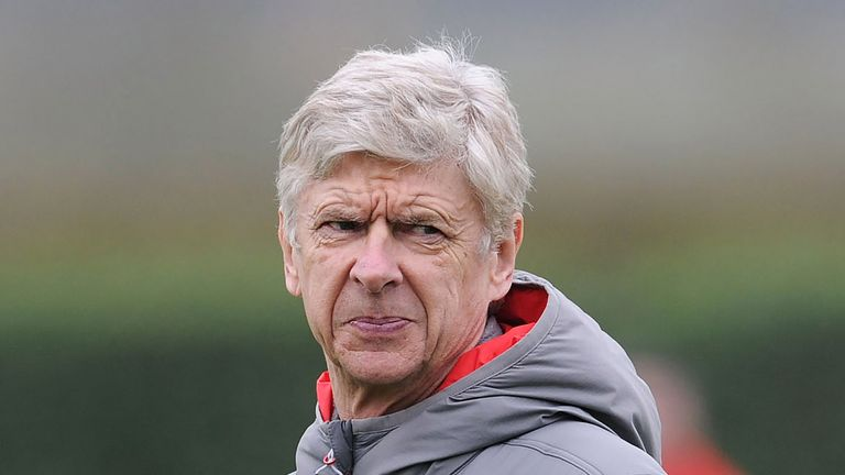 Arsene Wenger during a training session at London Colney on February 19