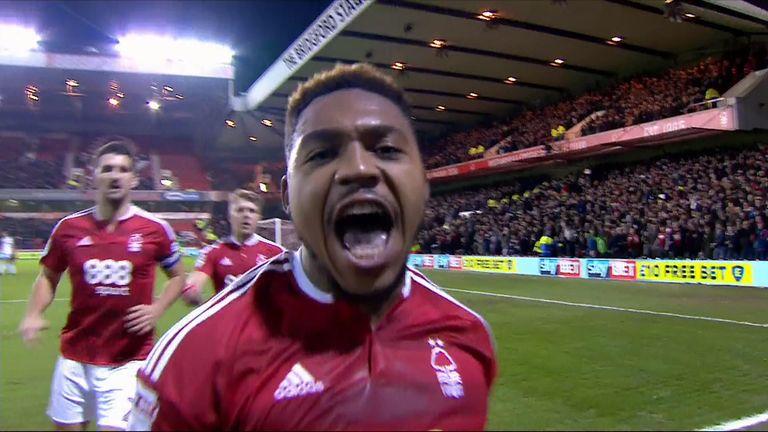 Britt Assombalonga goal celeb, Nottingham Forest v Aston Villa, Sky Bet Championship