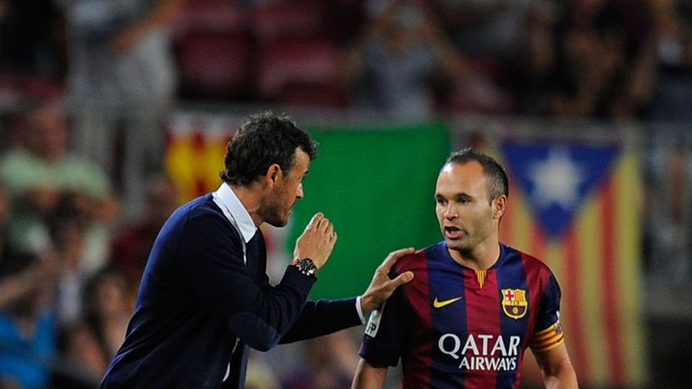 Some senior players at Barca, like Andres Iniesta, are understood to have doubts about boss Luis Enrique (left)