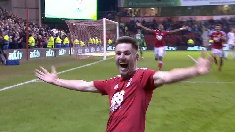Ben Brereton celebrates his injury time winner against Aston Villa