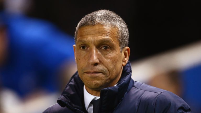 BRIGHTON, ENGLAND - FEBRUARY 28:  Chris Hughton manager of Brighton and Hove Albion looks on prior to the Sky Bet Championship match between Brighton & Hov