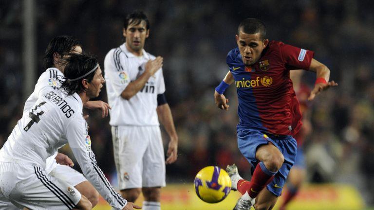 Right-back Dani Alves was a key figure for Pep Guardiola's Barcelona