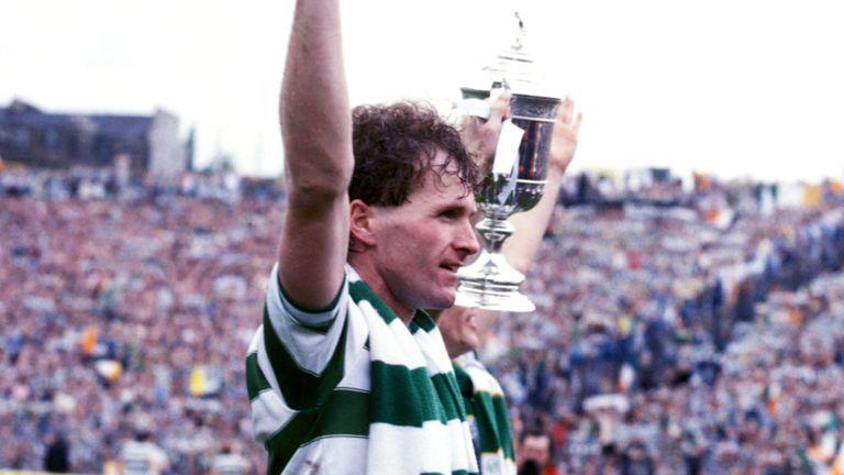 Provan celebrates Celtic's Scottish Cup success in 1985