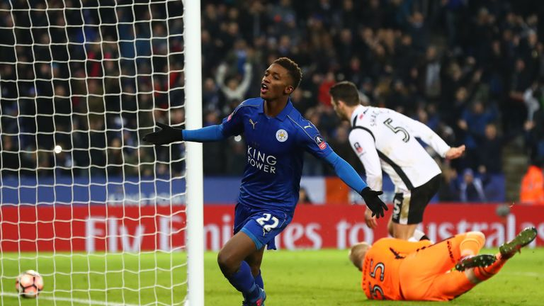 LEICESTER, ENGLAND - FEBRUARY 08:  Demarai Gray of Leicester City celebrates after scoring his team's third goal during the Emirates FA Cup Fourth Round re
