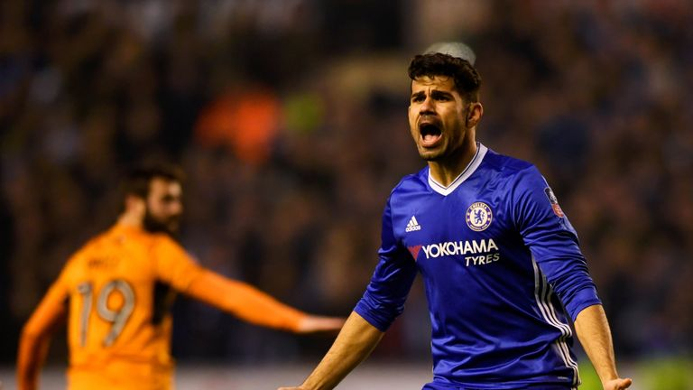 WOLVERHAMPTON, ENGLAND - FEBRUARY 18:  Diego Costa of Chelsea reacts during The Emirates FA Cup Fifth Round match between Wolverhampton Wanderers and Chels