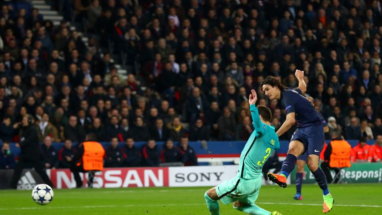 Edinson Cavani fires in PSG's fourth goal of the evening