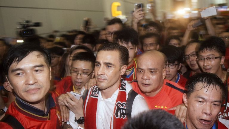 Cannavaro being welcomed in China