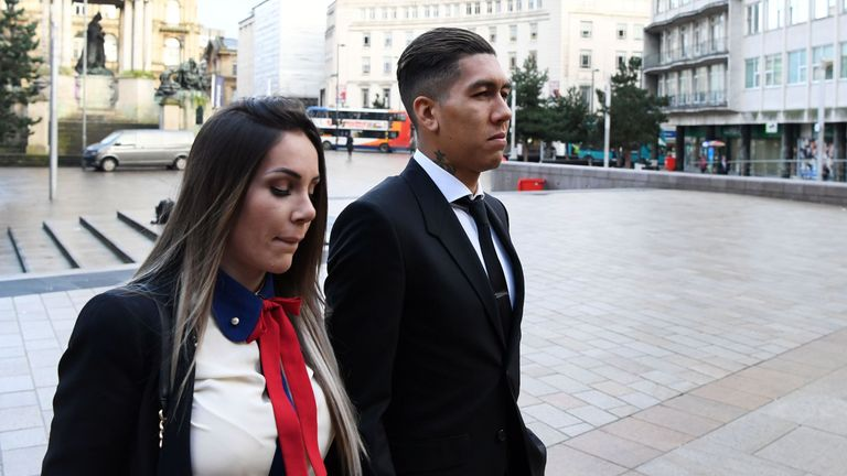 Roberto Firmino and wife Larissa Pereira arrive at Liverpool Magistrates Court in Liverpool, north-west England on Februar