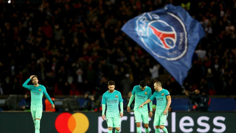 Sergio Busquets, Lionel Messi, Andres Iniesta, Luis Suarez of Barcelona react after conceding a goal during the UEFA Champions League tie v PSG