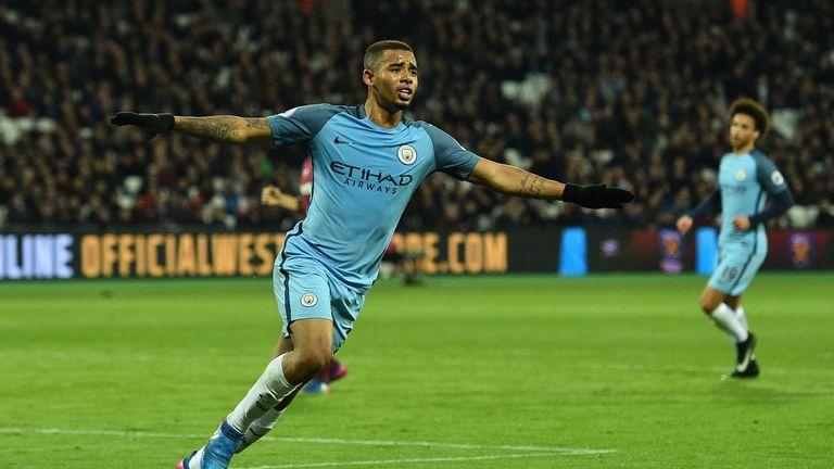 Manchester City's Brazilian striker Gabriel Jesus celebrates scoring his team's third goal during the English Premier League football match between West Ha