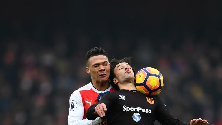 LONDON, ENGLAND - FEBRUARY 11: Lazar Markovic of Hull City is fouled by Kieran Gibbs of Arsenal during the Premier League match between Arsenal and Hull Ci