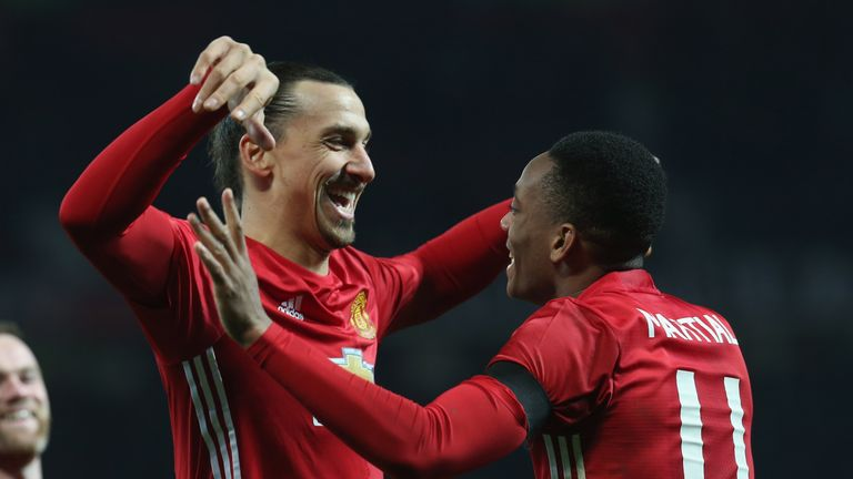 Zlatan Ibrahimovic (left) says he did not feel the need to cheer up Anthony Martial
