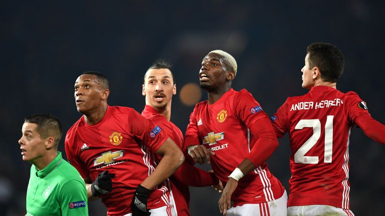 MANCHESTER, ENGLAND - FEBRUARY 16:  (L-R) Anthony Martial, Zlatan Ibrahimovic, Paul Pogba and Ander Herrera of Manchester United await a cross during the U