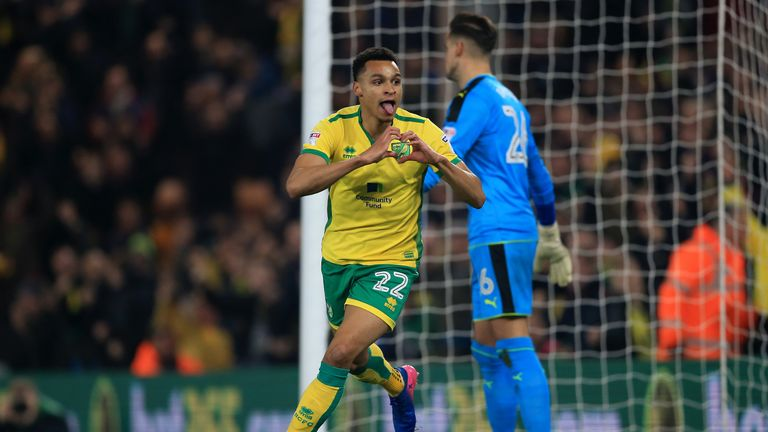 Norwich City's Jacob Murphy celebrates scoring his side's first goal of the game during the Sky Bet Championship match at Carrow Road, Norwich.