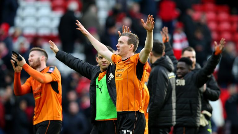 LIVERPOOL, ENGLAND - JANUARY 28:  Jon Dadi Bodvarsson of Wolverhampton Wanderers and team mates celebrate victory the Emirates FA Cup Fourth Round match be