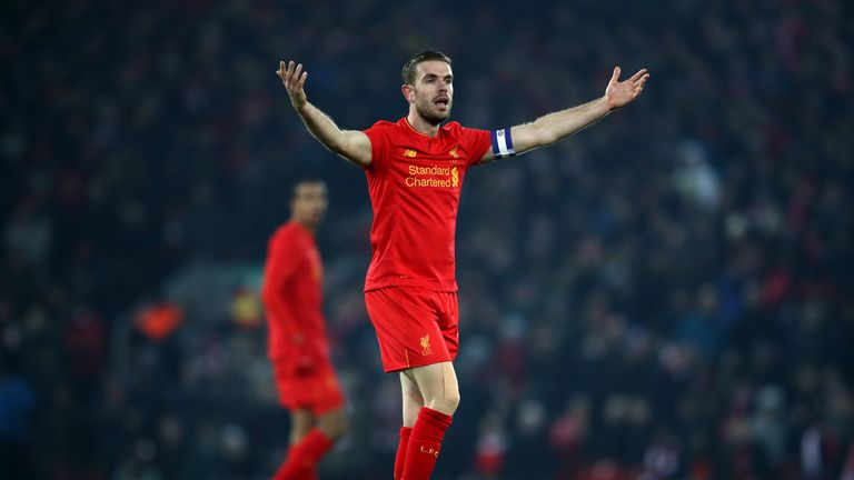 LIVERPOOL, ENGLAND - JANUARY 25: Jordan Henderson of Liverpool reacts  during the EFL Cup Semi-Final Second Leg match between Liverpool and Southampton at