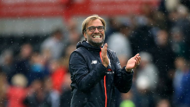 Liverpool manager Jurgen Klopp celebrates after the Premier League match at the Liberty Stadium, Swansea.