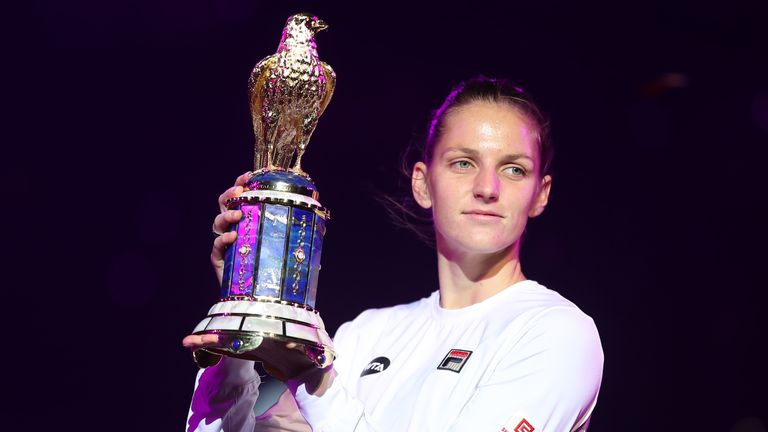 Karolina Pliskova claimed the Qatar Open title with victory over Caroline Wozniacki