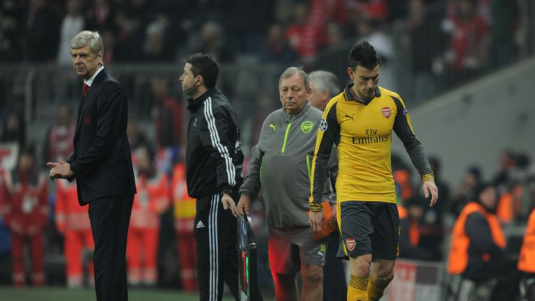 Laurent Koscielny was forced off against Bayern with a hamstring injury