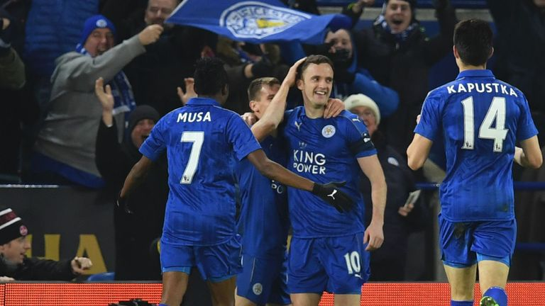 Andy King is congratulated for scoring Leicester's opener