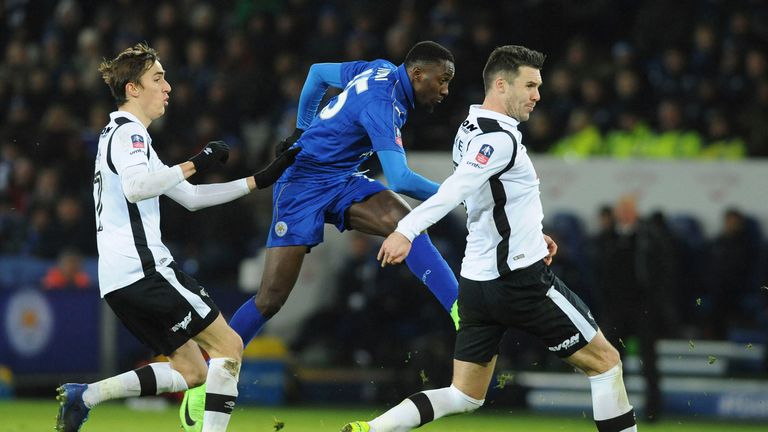 Leicester's Wilfred Ndidi scores against Leicester