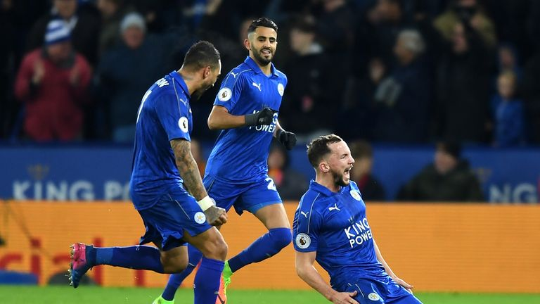 Danny Drinkwater wheels away in celebration after his stunning volley