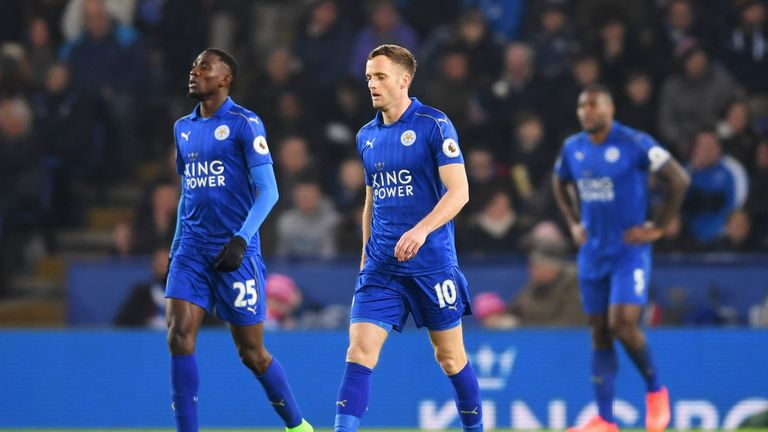 Wilfred Ndidi (left) and Andy King of Leicester City look dejected