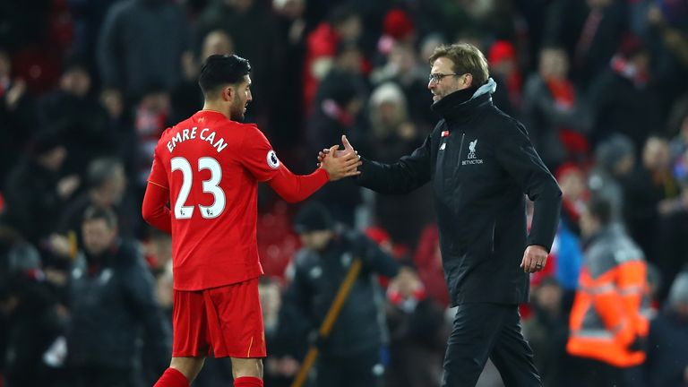 LIVERPOOL, ENGLAND - FEBRUARY 11: Jurgen Klopp, Manager of Liverpool celebrates with Emre Can after the Premier League match between Liverpool and Tottenha