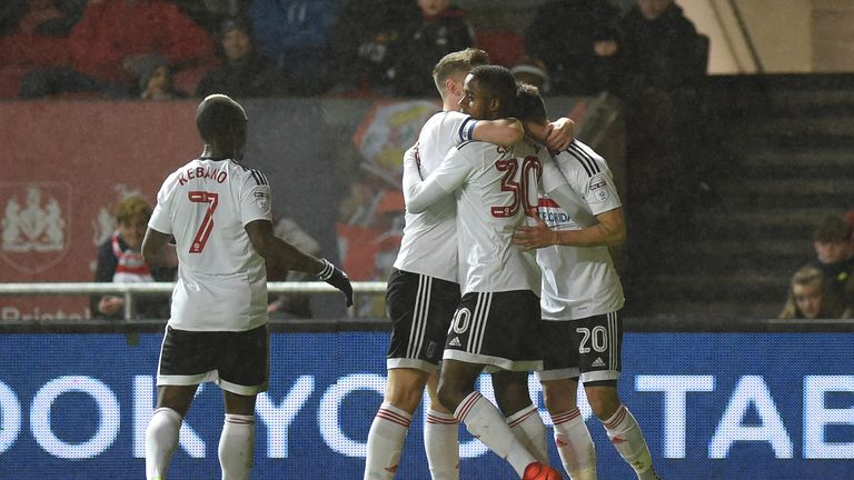 Fulham's Lucas Piazon (right) celebrates scoring his side's first goal of the game