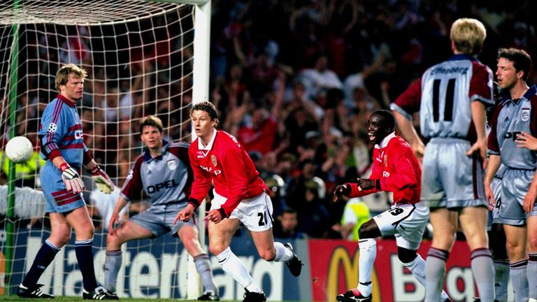 Ole Gunnar Solskjaer of Manchester United scores an injury time winner in the Champions League final against Bayern Munich at the Nou Camp in 1999