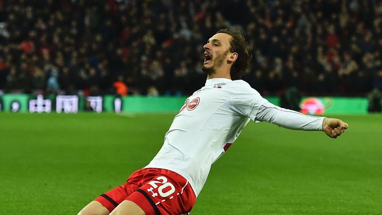 Southampton striker Manolo Gabbiadini celebrates his equaliser in the EFL Cup final