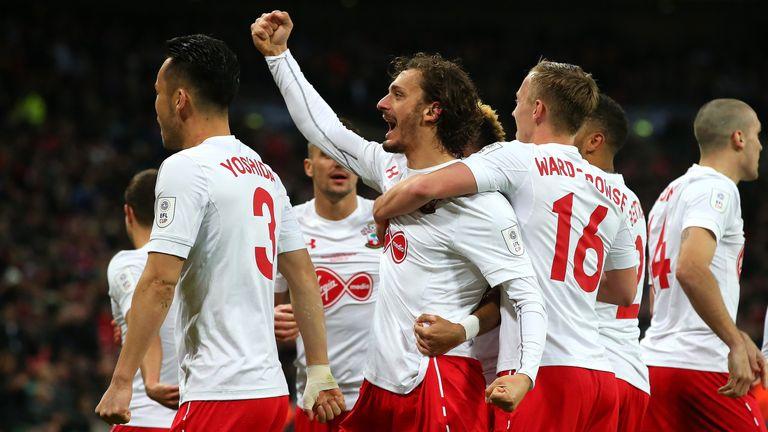 Manolo Gabbiadini celebrates after scoring Southampton's second goal