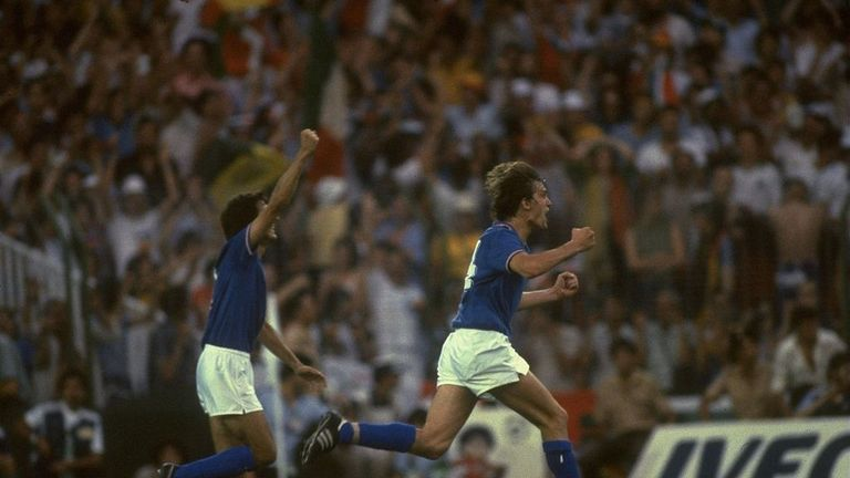Marco Tardelli (right) of Italy celebrates scoring the second goal against West Germany during the 1982 World Cup final