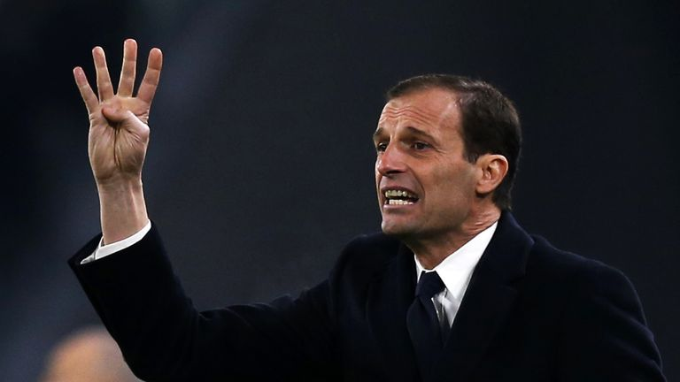 Juventus' coach Massimiliano Allegri gestures during the Italian Serie A football match between Juventus and Inter Milan on February 5, 2017 at the Juventu