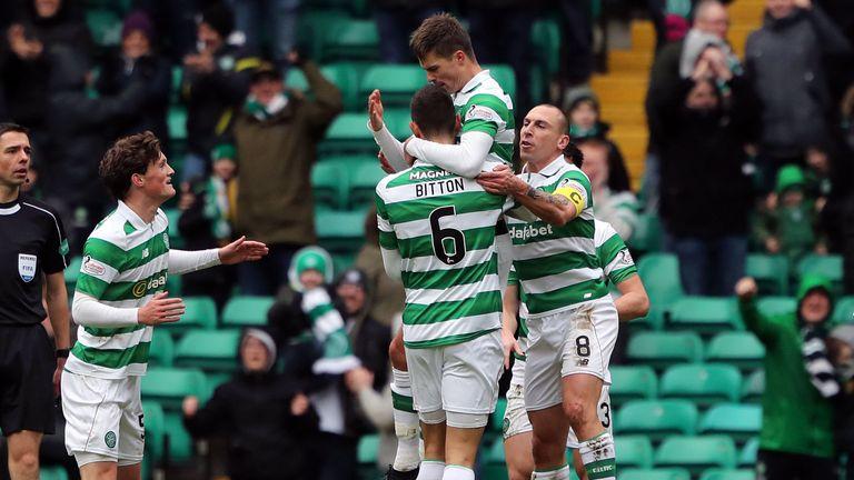 Celtic's Mikael Lustig celebrates