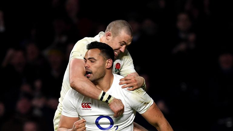 Ben Te'o celebrates after scoring the key try for England on Saturday