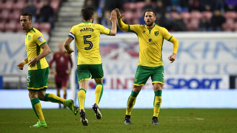 Mitchell Dijks of Norwich is congratulated by his team-mates