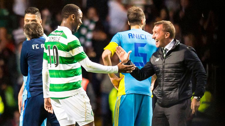 Celtic boss Brendan Rodgers congratulates Moussa Dembele after his late winner against FC Astana