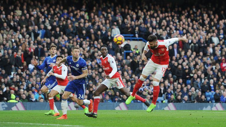 Olivier Giroud scores Arsenal's goal at Stamford Bridge
