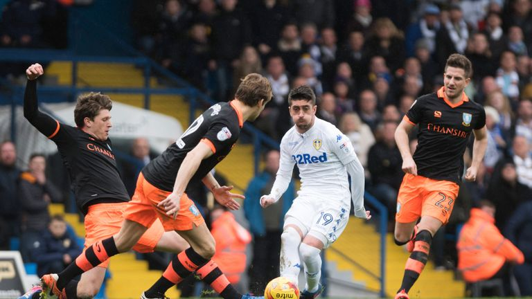 LEEDS, ENGLAND - FEBRUARY 25: Pablo Hernandez of Leeds United in action during the Sky Bet Championship match between Leeds United and Sheffield Wednesday