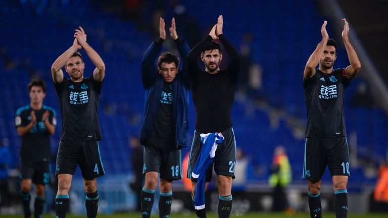 Sociedad players applaud their fans after the win at Espanyol