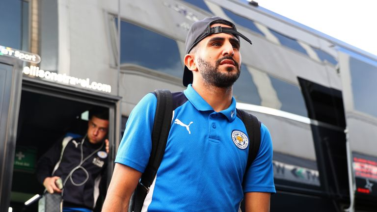 LONDON, ENGLAND - FEBRUARY 18:  Riyad Mahrez of Leicester City arrives at the stadium prior to The Emirates FA Cup Fifth Round match between Millwall and L
