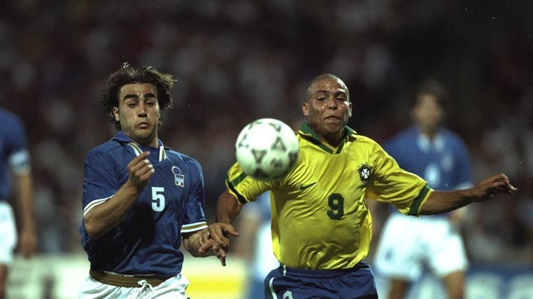 8 Jun 1997:  Ronaldo of Brazil (right) competes with Fabio Cannavaro of Italy during the match in the Tournoi De France in Lyon, France. The game was drawn