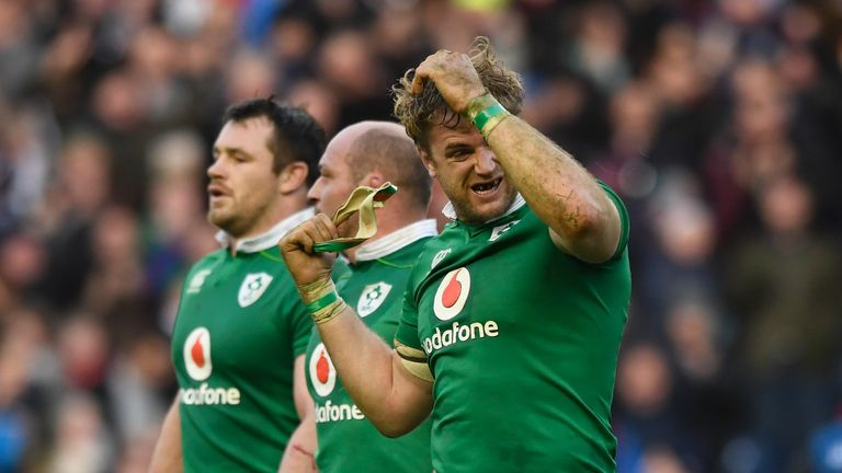 Jamie Heaslip (right) conceded two late penalties which resulted in six points for Laidlaw