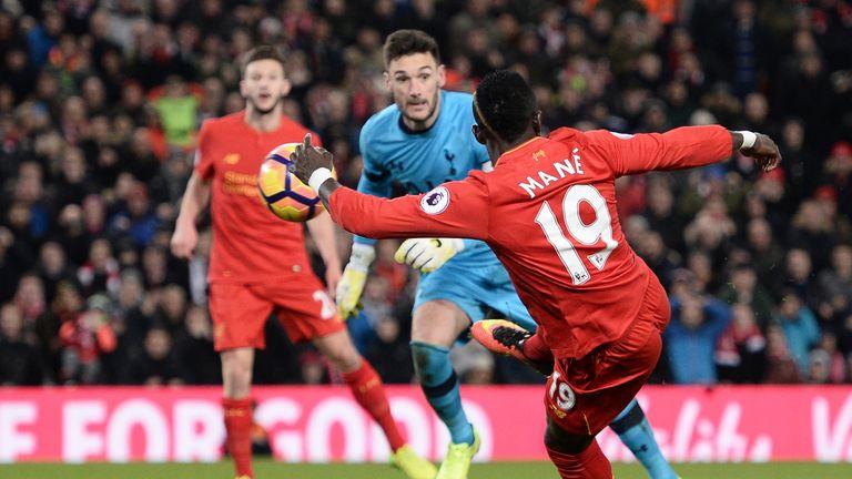 Sadio Mane scores his second goal for Liverpool