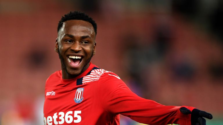 STOKE ON TRENT, ENGLAND - FEBRUARY 01:  Saido Berahino of Stoke City laughs prior to the Premier League match between Stoke City and Everton at Bet365 Stad