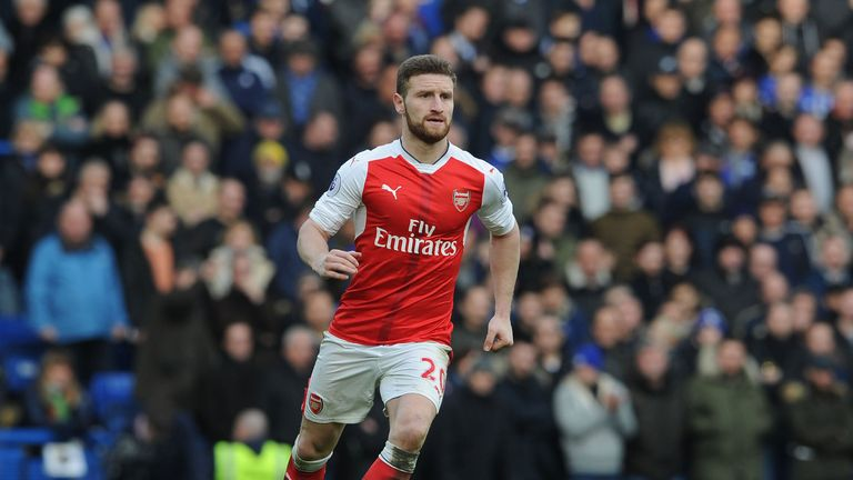 Shkodran Mustafi during the Premier League match between Chelsea and Arsenal at Stamford Bridge on February 4, 2017 in London, England.