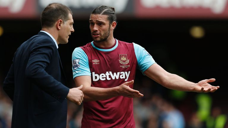 Andy Carroll (right) is a doubt for the weekend game with West Brom according to Slaven Bilic