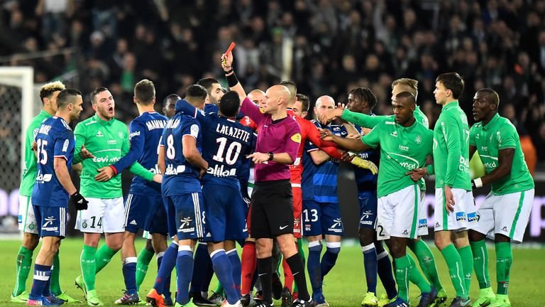 Referee Tony Chapron brandished three red card in stoppage-time at Stade Geoffroy-Guichard