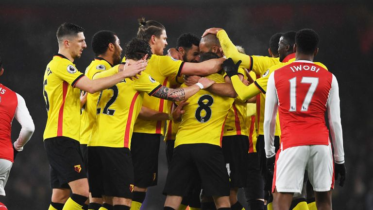 Watford players celebrate during to 2-1 victory over Arsenal